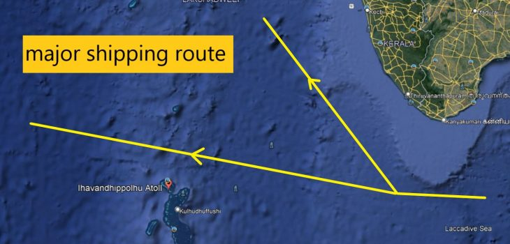 Ihavandhippolhu Atoll near major sea route